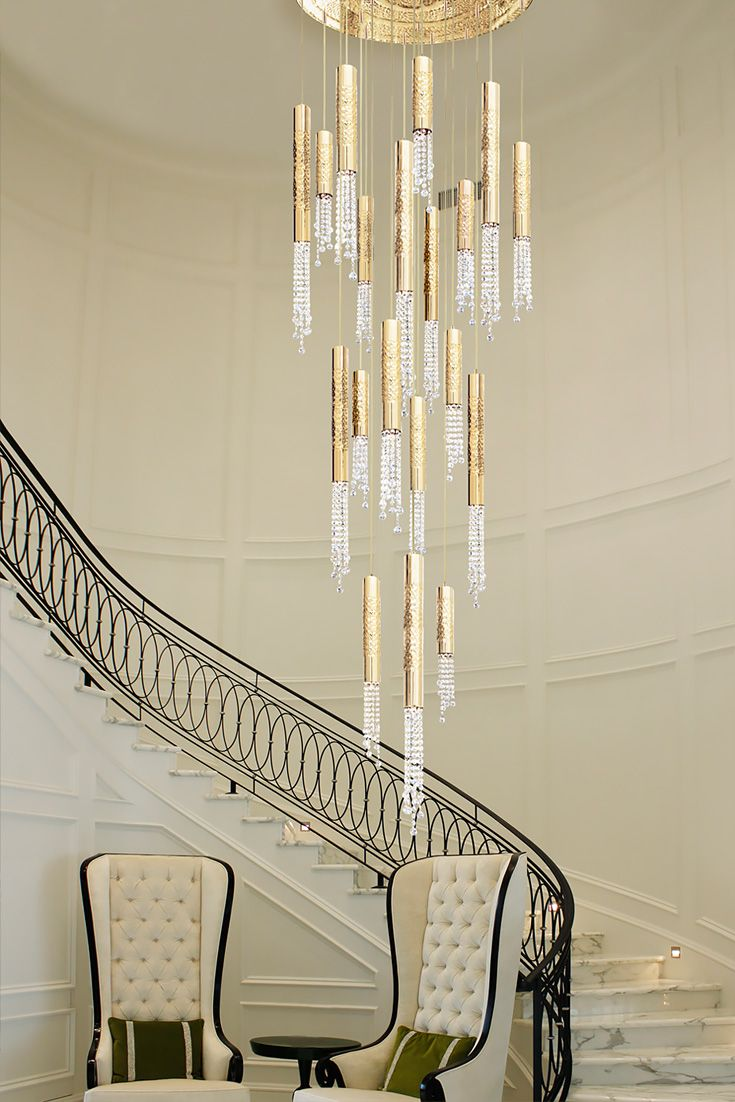 Gold Plated Contemporary Italian Crystal Pendant Chandelier