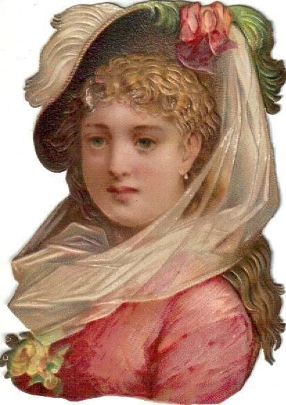 Victorian Die Cut Scrap Fashionable Lady in Pink & Green c1880: