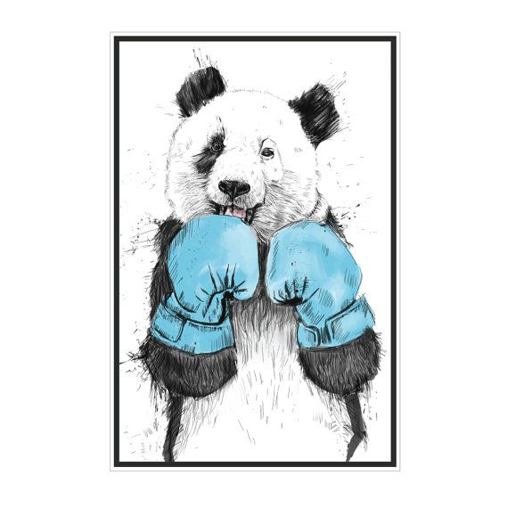 Panda Bear Wall Decal Sticker Rectangle The by MyWallStickers