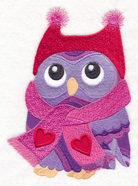 Free Embroidery Design: Bundled with Love Owl