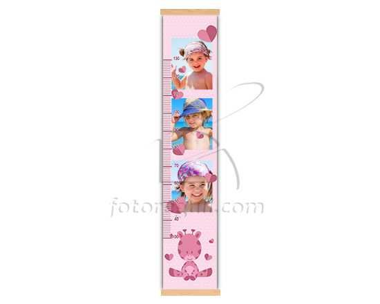 Misura bimbi con giraffa rosa e cuori