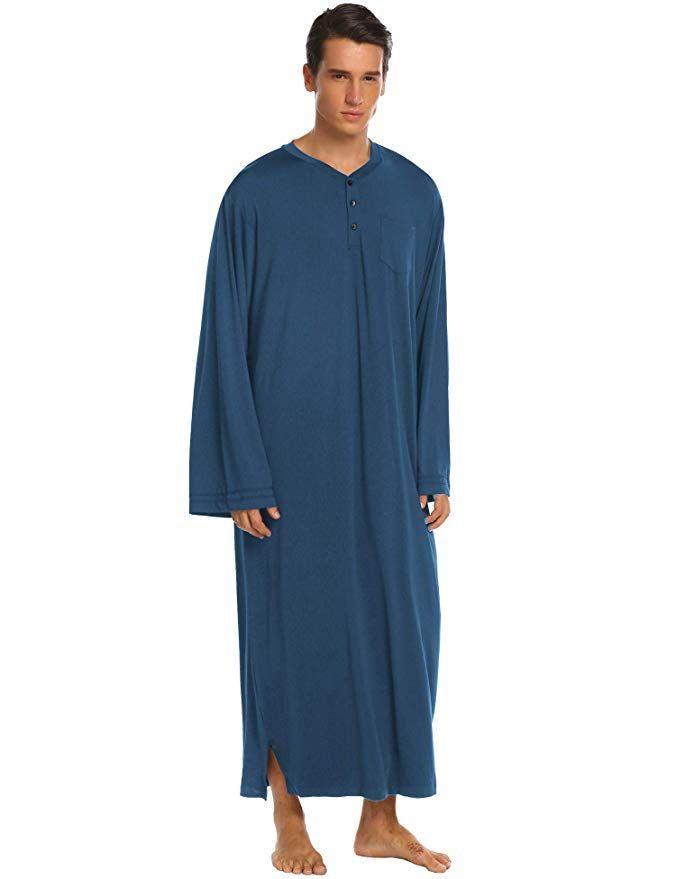 e58f63d96d3 Ekouaer Men s Nightshirts Soft Sleepwear Long Night Shirt Henley Sleep Shirt  at Amazon Men s Clothing store