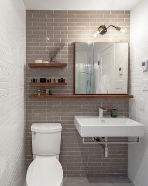 Love the shelving with wall to ceiling tiling. Minimilist sink is great. Degrassi - contemporary - Bathroom - Toronto - Wanda Ely Architect Inc.