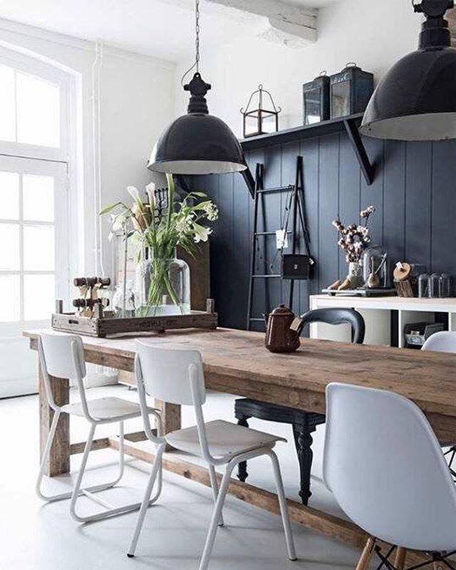 White + Black + Wood. #oneblackchair #modernfarmhouse #perfection Unknown via Pinterest