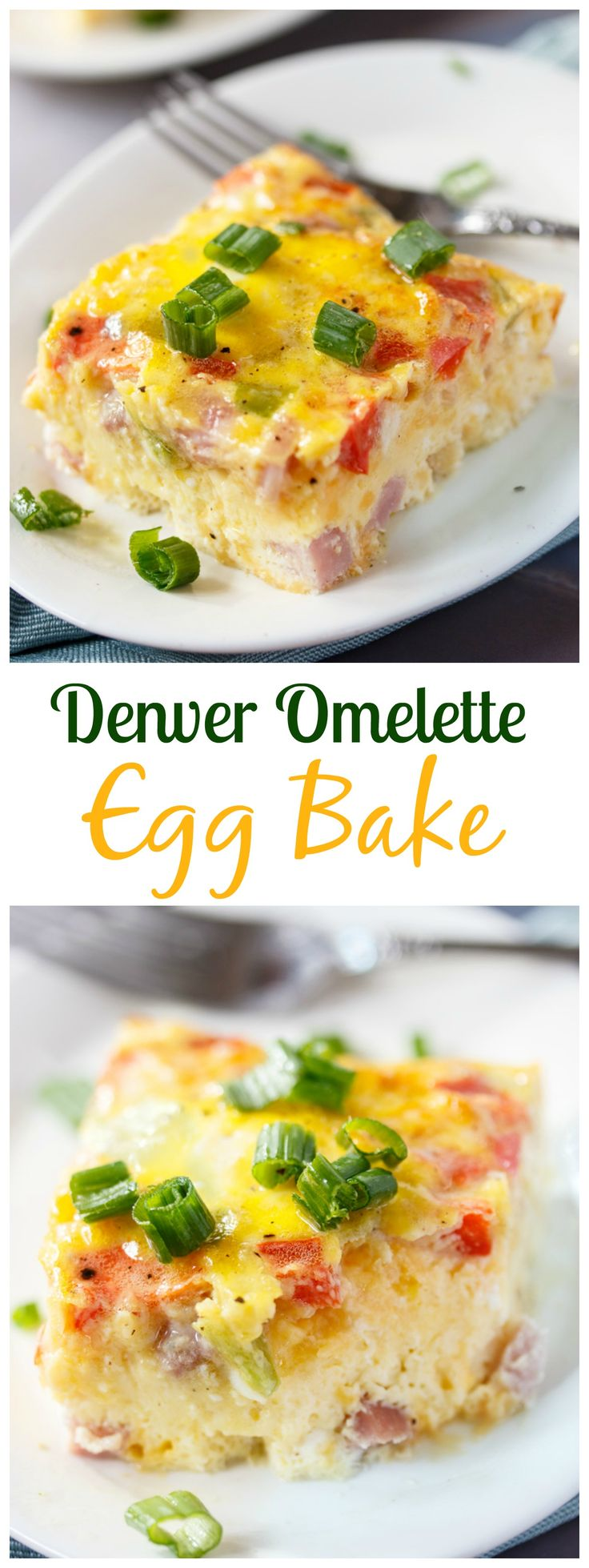 *****This Denver Omelette Egg Bake is loaded with ham, bell peppers, onions and cheese mixed with fluffy eggs and ready in 30 minutes from start to finish!