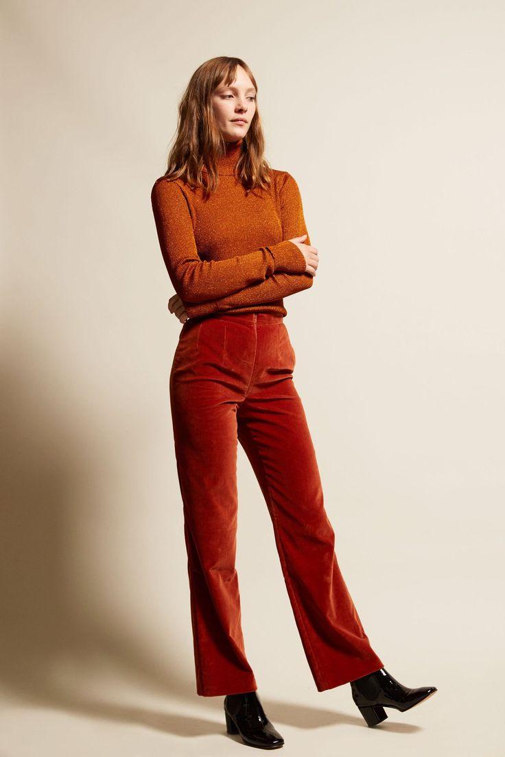 Marios Straight Leg Trousers in Rust Velvet