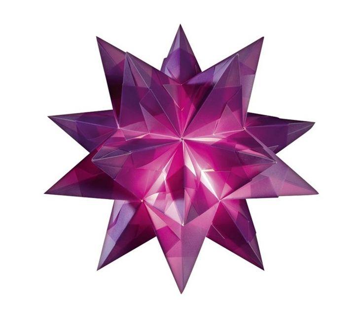 Estrella translúcida de papiroflexia