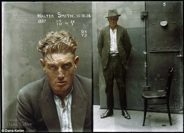 Hard labour: Burglar Walter Smith, photographed in a cell at Central Police Station on December 15, 1924 after he was charged with breaking and entering the dwelling-house of Edward Mulligan and stealing blinds at value 20 pounds (part recovered), and with stealing clothing, value 26 pounds (recovered) in the dwelling house of Ernest Leslie Mortimer. Smith was sentenced to six months hard labour