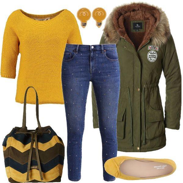 Outfit per tutti i giorni, composto da jeans slim fit, maglioncino spicy mustard con manica a tre quarti e parka verde militare. Completano i simpatici orecchini a forma di lampadina, le ballerine gialle e la borsa in cui si riprendono tutti i colori del look.