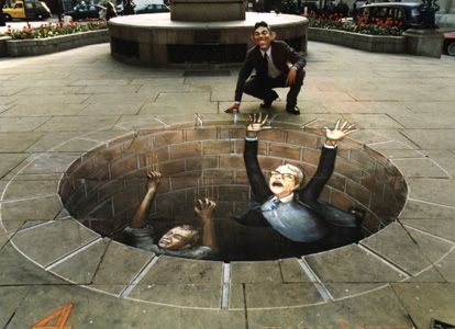 Julian Beever  sidewalk chalk art