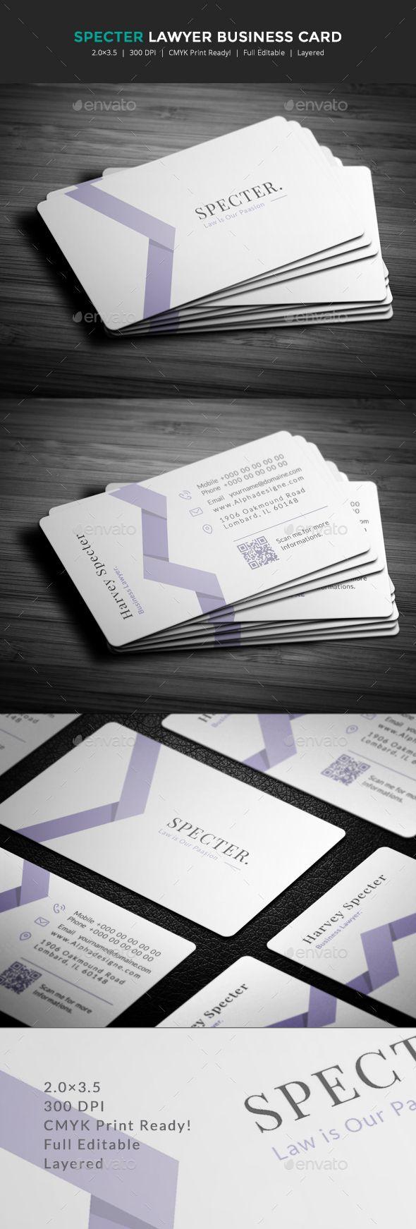 Specter Lawyer Business Card Template PSD