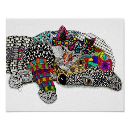 """Dog and Cat Poster 14""""x11"""" (You can Customize) - cat cats kitten kitty pet love pussy"""