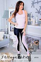 Костюм для фитнеса майка с лосинами черный с розовым 4054