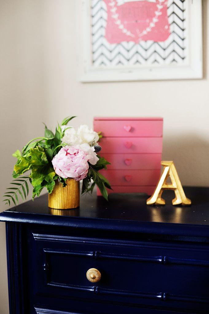 Interior Design: Tween Girl Bedroom Makeover Pink, Navy, Gold and Green - Pink Peppermint Design