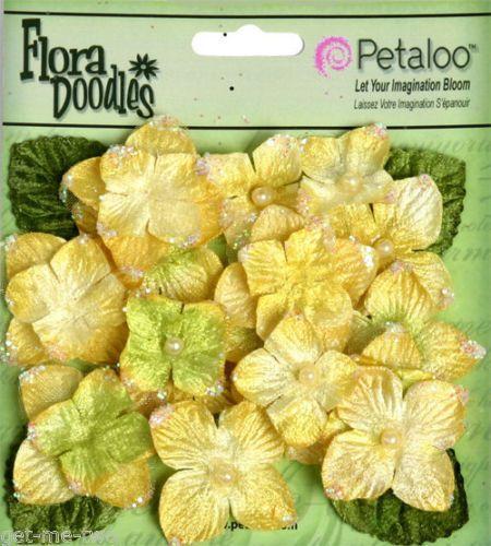 22 x Yellow Velvet Hydrangea Fabric Flowers Leaves Petaloo mixed pack NEW