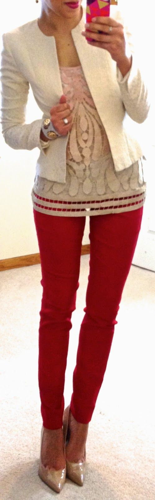 Red pants at work. Get a white blazer and patterned shirt!