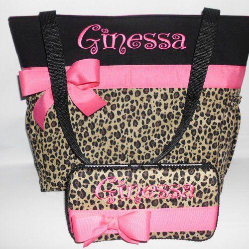 Hot Pink  Accents .. Cheetah ... LEOPARD  Print.... Diaper  Bag  | TweedleTotes - Bags & Purses on ArtFire