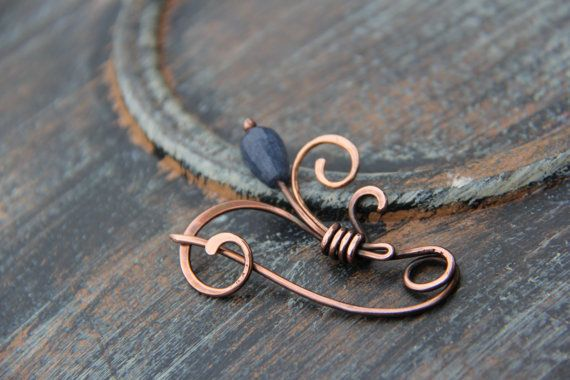 "Shawl pin, scarf pin, brooch, Copper and sapphire jade shawl pin ""  To the Sun"", wire wrap shawl pin"