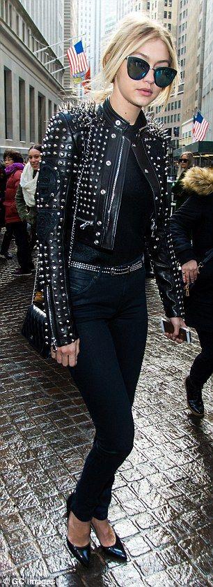 Gigi Hadid bundles up in biker chic to attend Diesel fashion show #dailymail // grunge