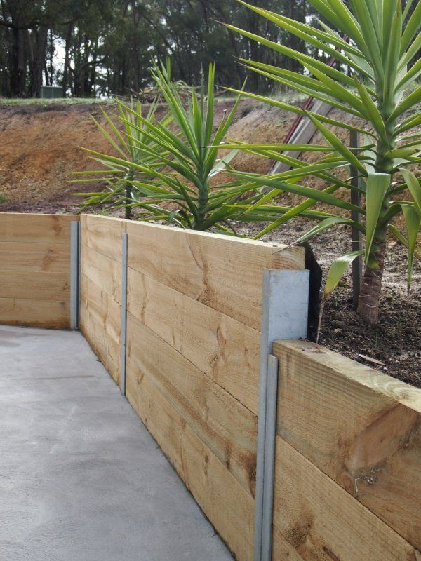 retaining wall timber - Google Search