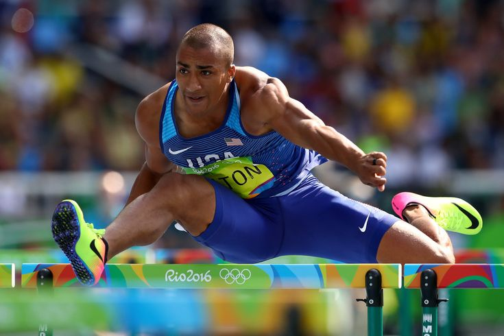 Ashton Eaton of the United States competes in the Men's Decathlon 100m Hurdles on Day 13 of the Rio 2016 Olympic Games at the Olympic Stadium on August 18, 2016 in Rio de Janeiro, Brazil.