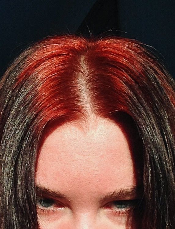 Black Hair With Red Roots In 2020 Black Hair Dye Hair Streaks Hair Color For Black Hair