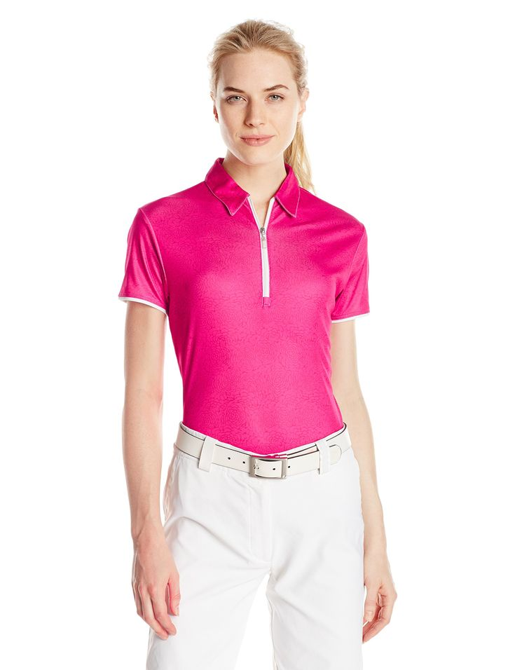 PGA TOUR Women's Golf Performance Short Sleeve Stencil Floral Print Top, Fuchsia Purple, Large. 8 inch zip placket. Drifter moisture absorption and control for cooler, drier comfort. Easy care machine washable, maintains its smoothness. Sun flux protects your skin from the sun's harmful rays. Motion flux innovative seams define range of motion.