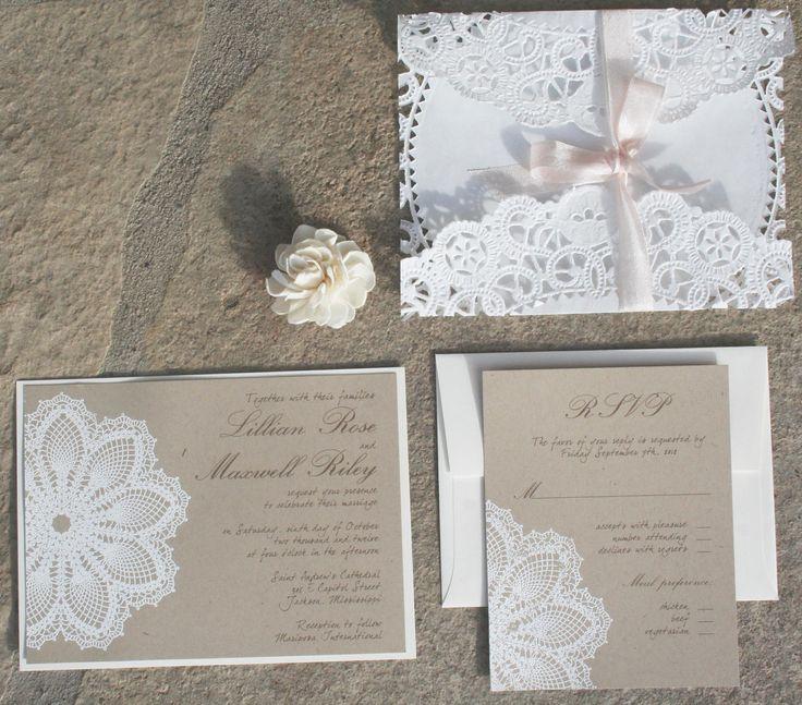 SALE: vintage lace wedding invitation - Lace doily and rustic flourish - Boxed invitation - Lillian Collection- SAMPLE. $12.75, via Etsy.