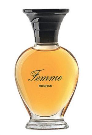 Rochas - Femme. Notes are: bergamot, peach, pear, rose, an immortal, jasmine, ylang-ylang, grey amber, musk, oakmoss and sandal