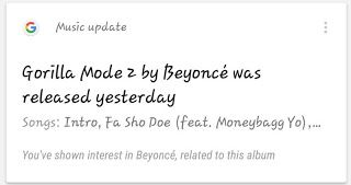 "Beyoncé Gorilla Mode 2  Beyoncé ""Gorilla Mode 2"" was released yesterday according to Google. The notification was a mistake. The search engine got the singer mixed up with a mixtape title Gorilla Mode 2by King B. The Bey Hive is constantly on Bey Watch after the singer's 2013 surprise album Beyoncé. Queen Bey did recently release her standalone video ""All Night.""  Beyoncé's video for ""All Night"" is an individual clip from the singer's most recent album Lemonade. The amazing visual features…"