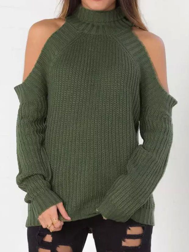 9be762a5b3e026 Army Green High Neck Cold Shoulder Long Sleeve Sweater