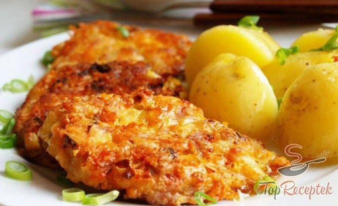 Csirketallérok sajtos tésztában