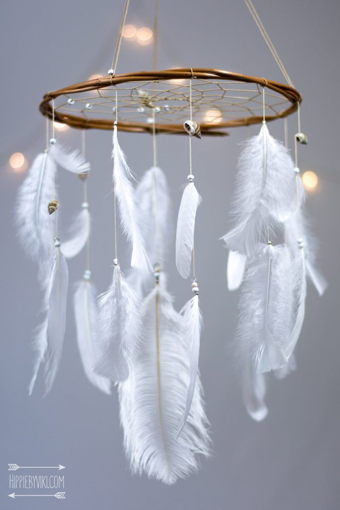 White Dreamcatcher Mobile