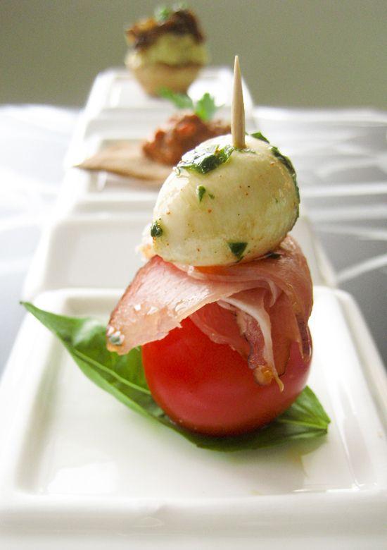 Tomato, mozzarella, prosciutto & basil...finger foods perfect for mingling