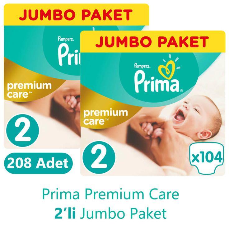 Prima Premium Care Bebek Bezi 2 Beden Jumbo İkili Paket (104 Adet x 2 Adet)