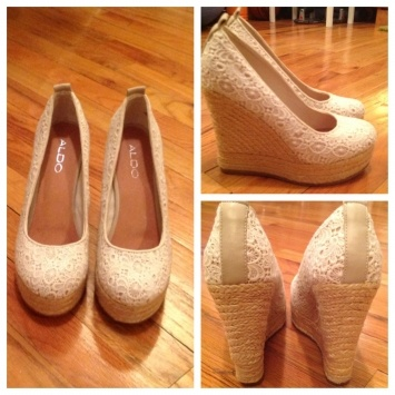 Aldo White Wedges $26. Sara you might want to think about these if you are planning to get married at the Spring Lake CC gazebo on the lake. They don't sink in the earrrttthhhh. Lol