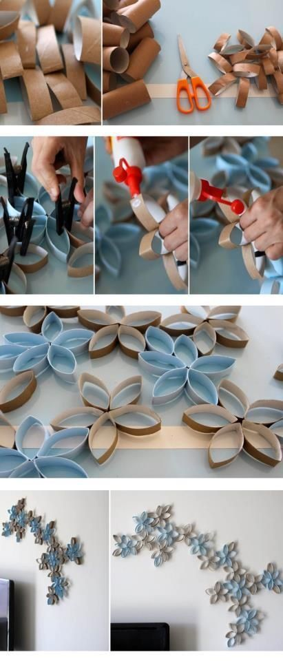 DIY Flowers Wall Art made of toilet paper tubs