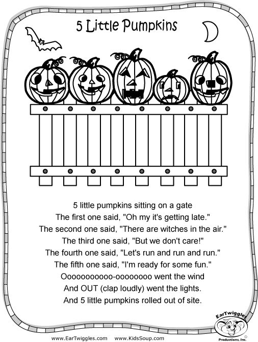 5 Little Pumpkins Sitting On A Gate Coloring Sheet