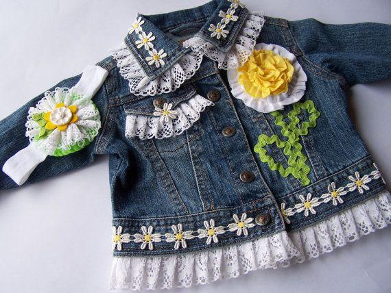 Baby Denim Jacket Daisy jean jacket Lace Denim by dreamlandbaby, $39.00