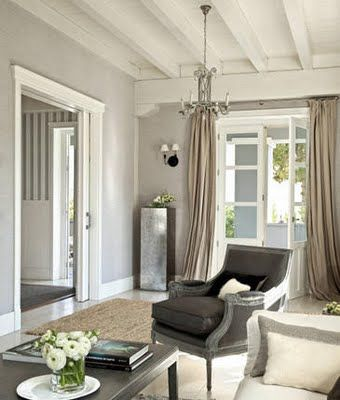 Neutral Color Palette, White Ceiling, Elegant Furnishings, Beige Curtains,  Grey Walls And Beautiful Natural Light. Part 20