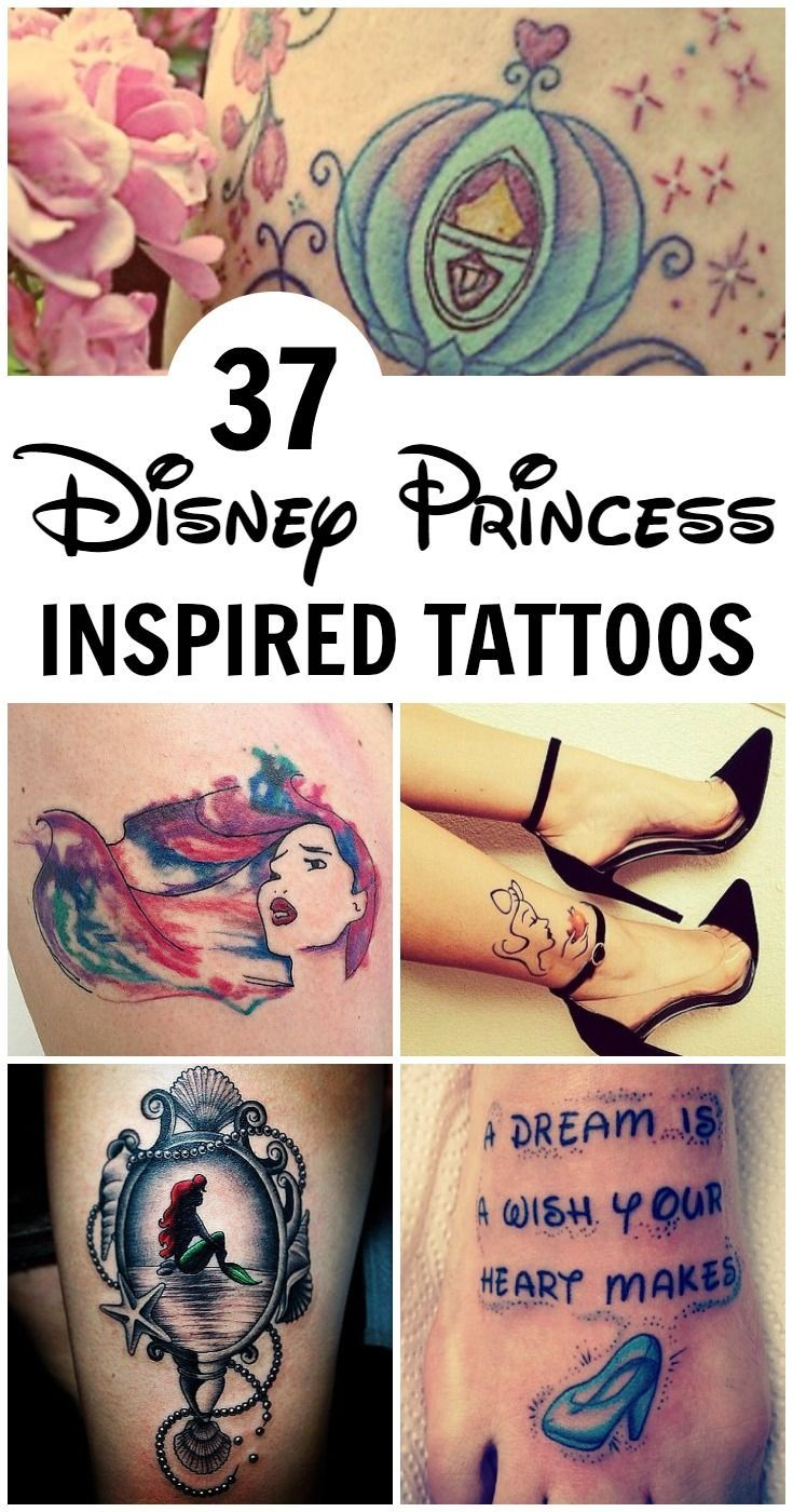 The magic of Disney spans over generations, and who wouldn't want to be swept up into the fantasy of living a fairy tale life? For those who see themselves as a real-life Disney princess, a tattoo is the way to go; get inspiration for your mermaid, Cinderella, Frozen, Snow White or other Disney princess inspired ink.