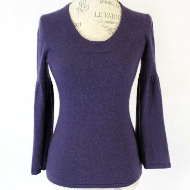 Design History 2-Ply 100% Cashmere Purple Crew Neck ...