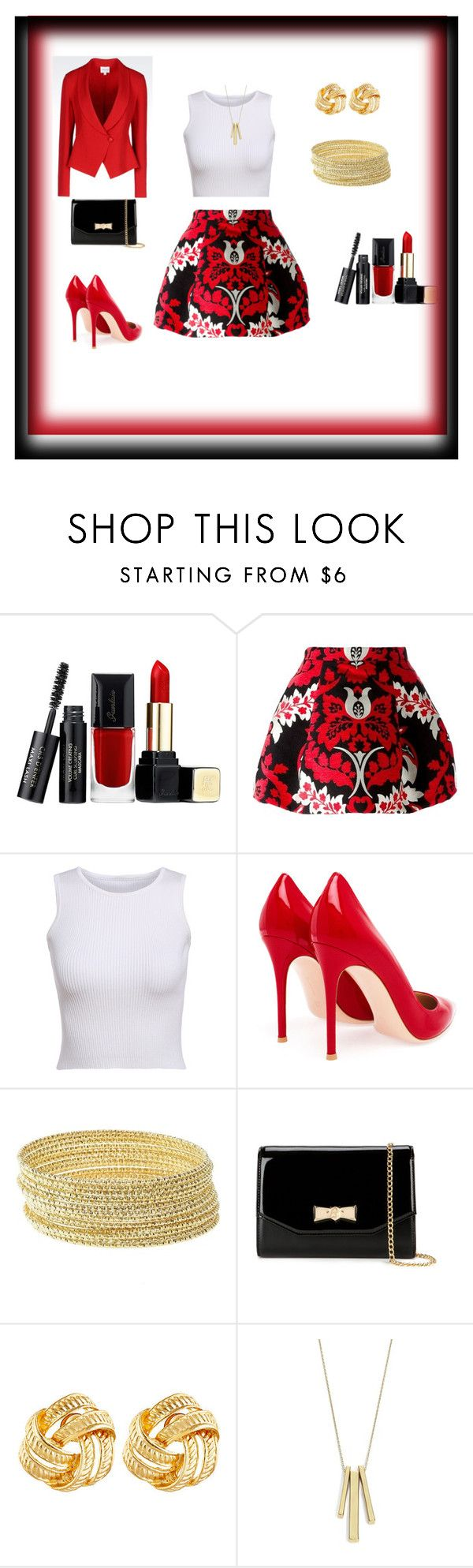"""""""Untitled #179"""" by dee-dee-lugo ❤ liked on Polyvore featuring Guerlain, Dsquared2, Gianvito Rossi, Charlotte Russe, Ted Baker, Susan Shaw, Lauren Ralph Lauren and Armani Collezioni"""