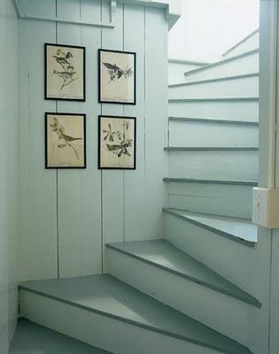 painted gray staircase