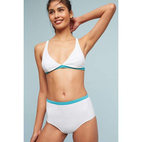 Fleur of England Cutout High-Waisted Bikini Bikini Bikini Bottom ($114) ❤ liked on Polyvore featuring swimwear, bikinis, bikini bottoms, white, cut-out bikinis, high-waisted bikinis, high waisted cutout bikini, white bikini swimwear and white bikini