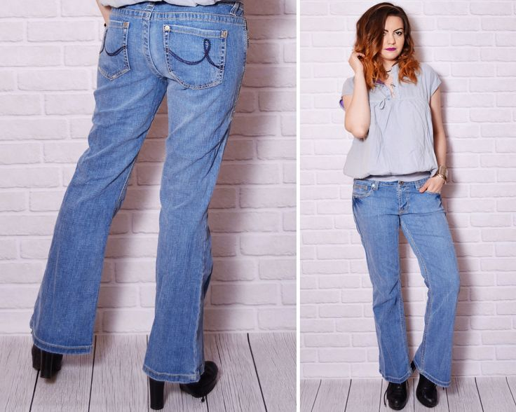 90s distressed jeans worn out pattern bootcut sexy butt long pants low rise jean  denim casual basic rocker chick minimalist urban trousers