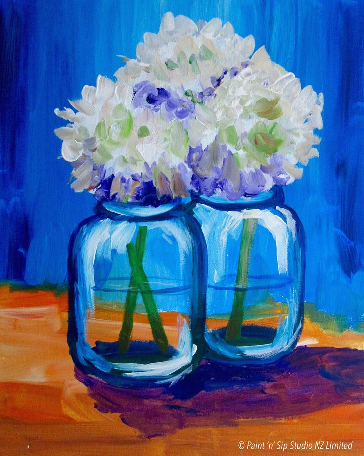 Jars of Hydrangeas