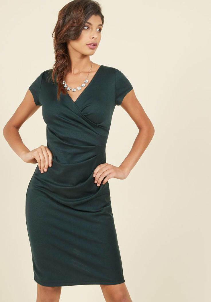 I Think I Can Sheath Dress in Pine in S - Cap Knee Length