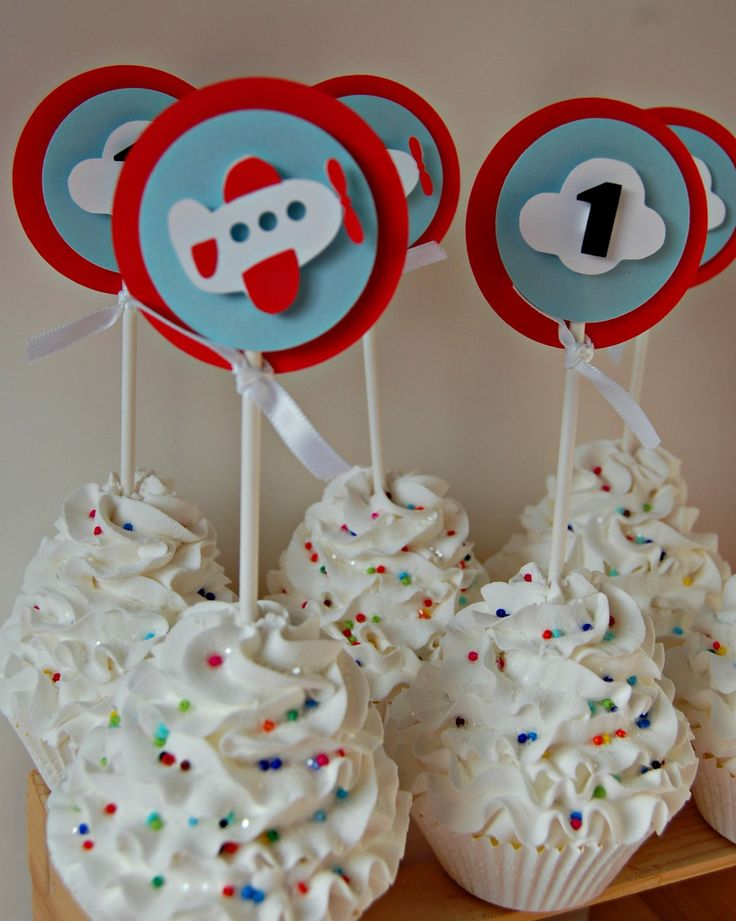 Airplane Pilot Birthday Party Cupcake Toppers (set of 12)