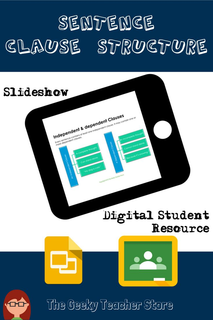 This is a slideshow presentation with digital student resource that covers the basics of independent and subordinate clauses, as well the coordinating and subordinate conjunctions. It also provides examples of how they are used in simple, compound, complex, and compound-complex sentences. #TPT #ELA #writing #highschool #freebie #sentenceclauses #commoncore #homeschool #googleapps #freeresource #grammar #clauses #googleclassroom
